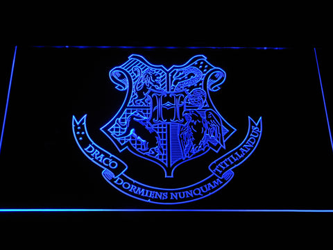 Image of Harry Potter Hogwarts Crest LED Neon Sign - Blue - SafeSpecial