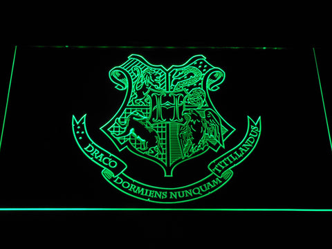 Image of Harry Potter Hogwarts Crest LED Neon Sign - Green - SafeSpecial