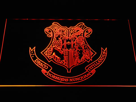 Image of Harry Potter Hogwarts Crest LED Neon Sign - Orange - SafeSpecial