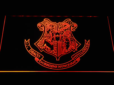 Harry Potter Hogwarts Crest LED Neon Sign - Orange - SafeSpecial