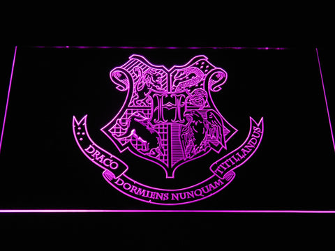 Image of Harry Potter Hogwarts Crest LED Neon Sign - Purple - SafeSpecial