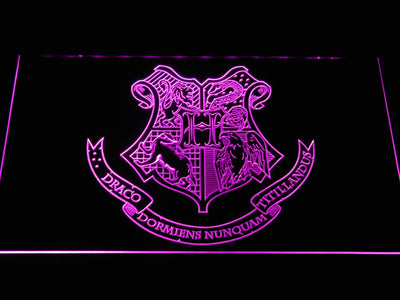 Harry Potter Hogwarts Crest LED Neon Sign - Purple - SafeSpecial