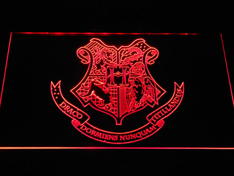 Image of Harry Potter Hogwarts Crest LED Neon Sign - Red - SafeSpecial