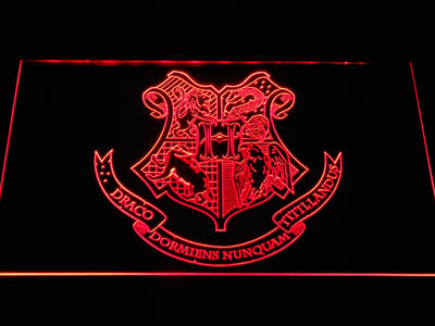 Harry Potter Hogwarts Crest LED Neon Sign - Red - SafeSpecial