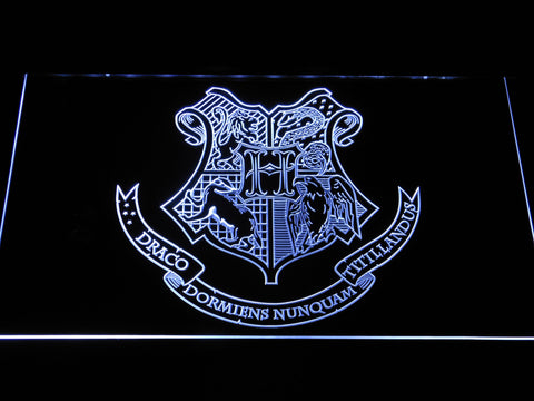 Image of Harry Potter Hogwarts Crest LED Neon Sign - White - SafeSpecial