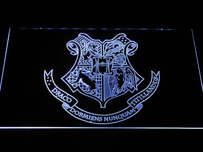 Harry Potter Hogwarts Crest LED Neon Sign - White - SafeSpecial