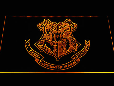 Image of Harry Potter Hogwarts Crest LED Neon Sign - Yellow - SafeSpecial