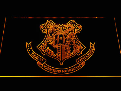 Harry Potter Hogwarts Crest LED Neon Sign - Yellow - SafeSpecial