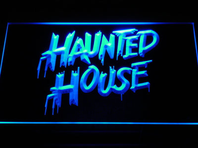 Haunted House LED Neon Sign - Blue - SafeSpecial