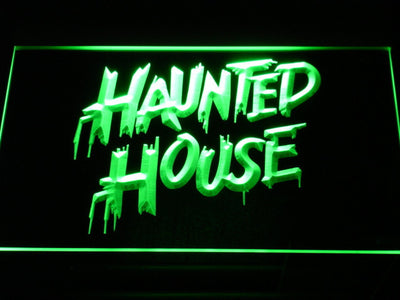Haunted House LED Neon Sign - Green - SafeSpecial