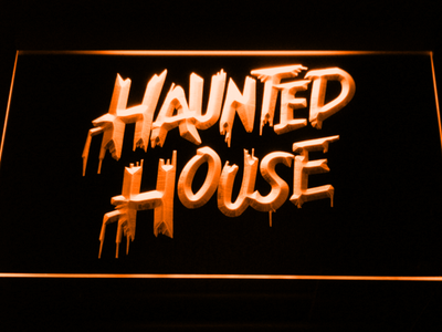 Haunted House LED Neon Sign - Orange - SafeSpecial