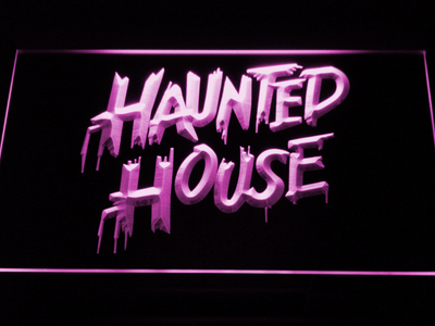 Haunted House LED Neon Sign - Purple - SafeSpecial