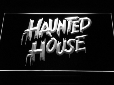 Haunted House LED Neon Sign - White - SafeSpecial