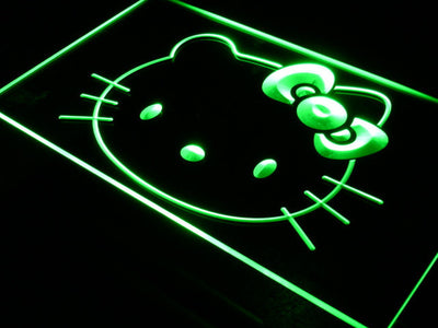 Hello Kitty Head LED Neon Sign - Green - SafeSpecial
