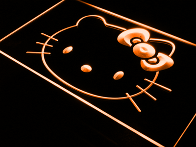 Hello Kitty Head LED Neon Sign - Orange - SafeSpecial