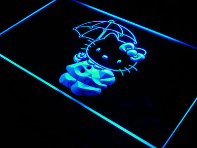 Hello Kitty Umbrella LED Neon Sign - Blue - SafeSpecial
