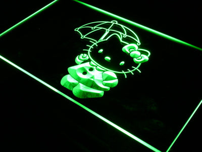 Hello Kitty Umbrella LED Neon Sign - Green - SafeSpecial