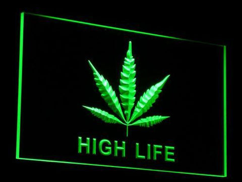 High Life Leaf LED Neon Sign - Green - SafeSpecial