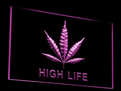 High Life Leaf LED Neon Sign - Purple - SafeSpecial