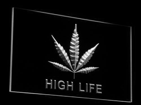 High Life Leaf LED Neon Sign - White - SafeSpecial