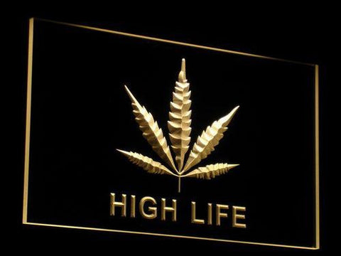 High Life Leaf LED Neon Sign - Yellow - SafeSpecial