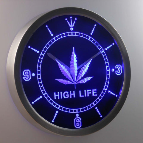 Image of High Life Leaf LED Neon Wall Clock - Blue - SafeSpecial
