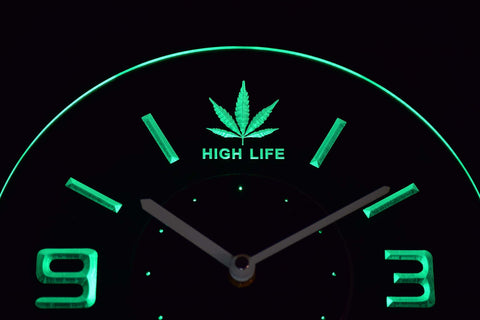 High Life Leaf Modern LED Neon Wall Clock - Green - SafeSpecial