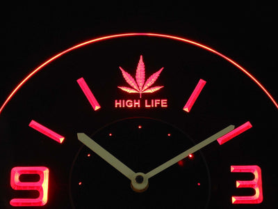 High Life Leaf Modern LED Neon Wall Clock - Red - SafeSpecial
