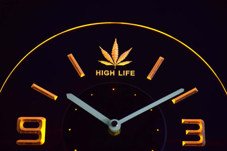 High Life Leaf Modern LED Neon Wall Clock - Yellow - SafeSpecial