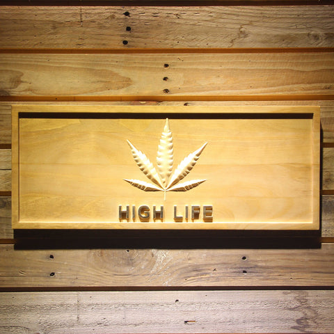 High Life Leaf Wooden Sign - Small - SafeSpecial