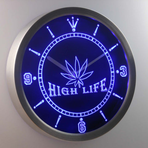 Image of High Life LED Neon Wall Clock - Blue - SafeSpecial