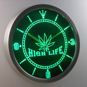 High Life LED Neon Wall Clock - Green - SafeSpecial