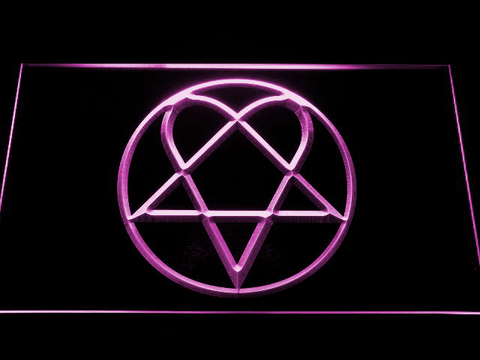 HIM Heartagram LED Neon Sign - Purple - SafeSpecial