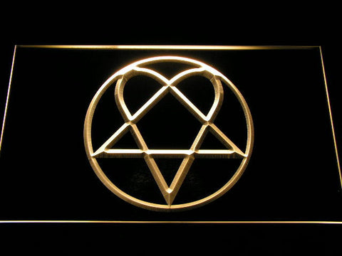 HIM Heartagram LED Neon Sign - Yellow - SafeSpecial