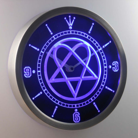 Him Heartagram LED Neon Wall Clock - Blue - SafeSpecial