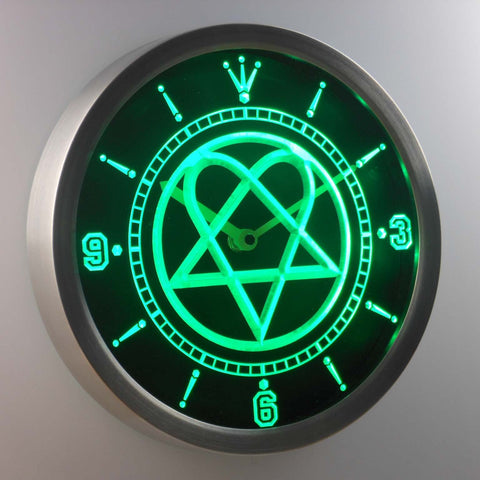 Him Heartagram LED Neon Wall Clock - Green - SafeSpecial
