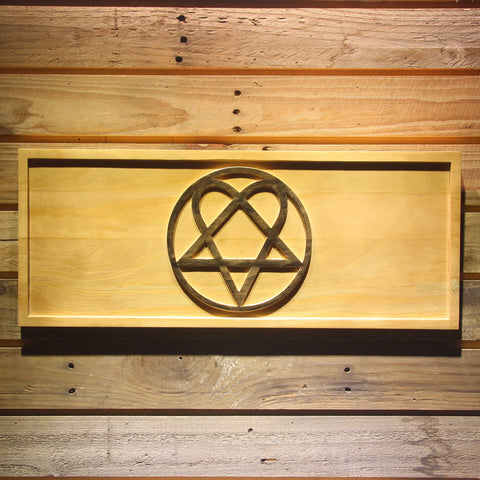 HIM Heartagram Wooden Sign - Small - SafeSpecial