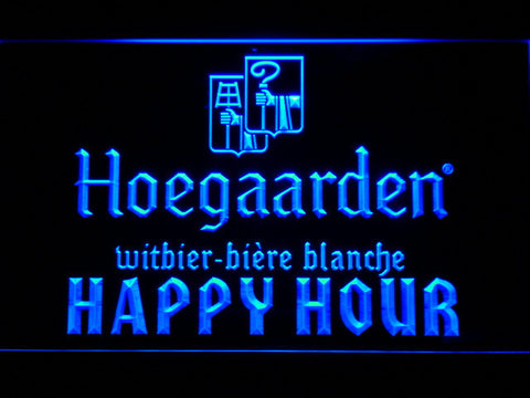 Image of Hoegaarden Happy Hour LED Neon Sign - Blue - SafeSpecial