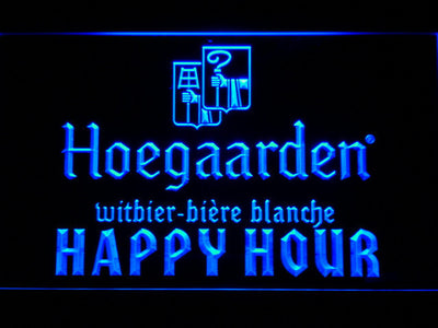 Hoegaarden Happy Hour LED Neon Sign - Blue - SafeSpecial