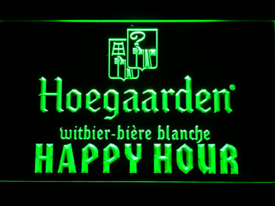 Hoegaarden Happy Hour LED Neon Sign - Green - SafeSpecial