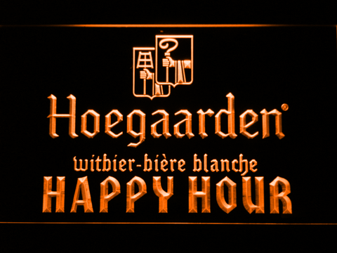 Image of Hoegaarden Happy Hour LED Neon Sign - Orange - SafeSpecial
