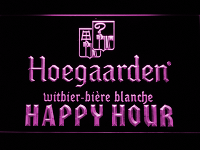 Hoegaarden Happy Hour LED Neon Sign - Purple - SafeSpecial