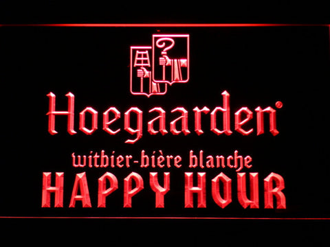 Image of Hoegaarden Happy Hour LED Neon Sign - Red - SafeSpecial