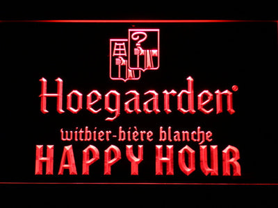 Hoegaarden Happy Hour LED Neon Sign - Red - SafeSpecial