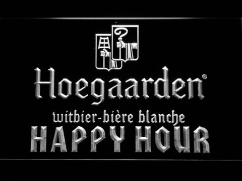 Image of Hoegaarden Happy Hour LED Neon Sign - White - SafeSpecial