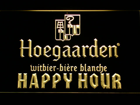 Image of Hoegaarden Happy Hour LED Neon Sign - Yellow - SafeSpecial