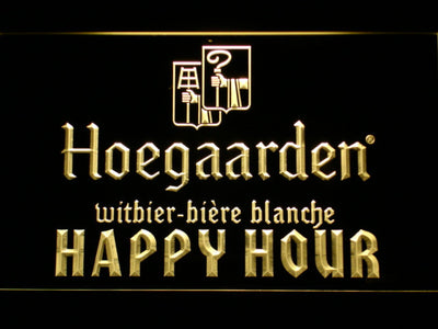 Hoegaarden Happy Hour LED Neon Sign - Yellow - SafeSpecial