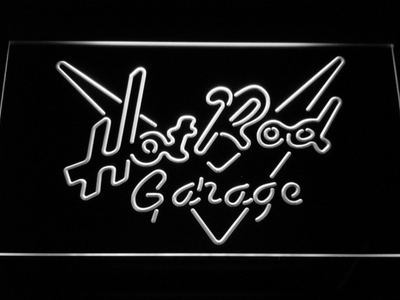 Hot Rod Garage LED Neon Sign - White - SafeSpecial