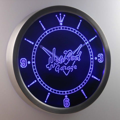 Hot Rod Garage LED Neon Wall Clock - Blue - SafeSpecial