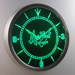 Hot Rod Garage LED Neon Wall Clock - Green - SafeSpecial